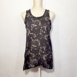 Theory Mayra Lace Print 100% Silk Shell Tank SP